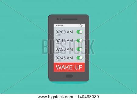 Set up multiple alarm on smart phone for wake up.