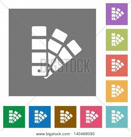 Color swatch flat icon set on color square background.
