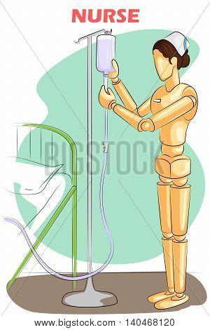 Wooden human mannequin Nurse serving in Hospital. Vector illustration