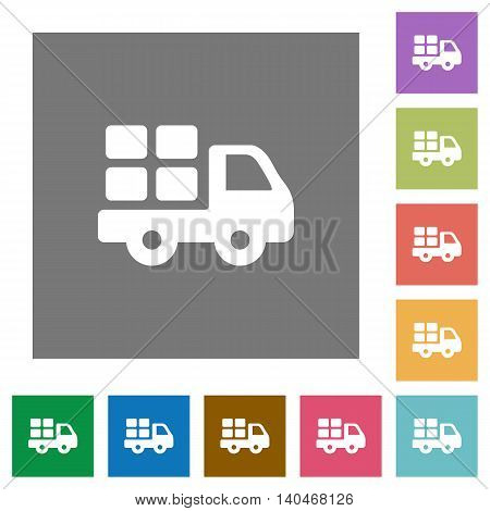 Transport flat icon set on color square background.