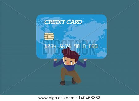 Man carrying a big credit card on his shoulder. This Illustration is concept about credit card debt.