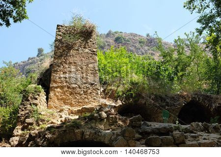 Ruined mill in Nahal Amud National park Upper Galilee in Israel.