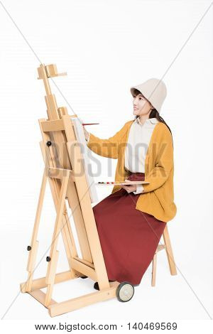 Cute Beautiful Girl Painter