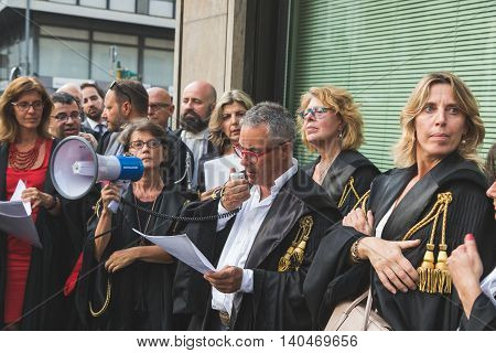 Italian Lawyers Protesting In Milan, Italy