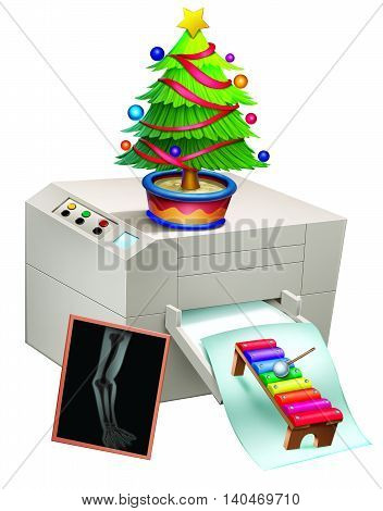 Christmas tree placed on a printing machine