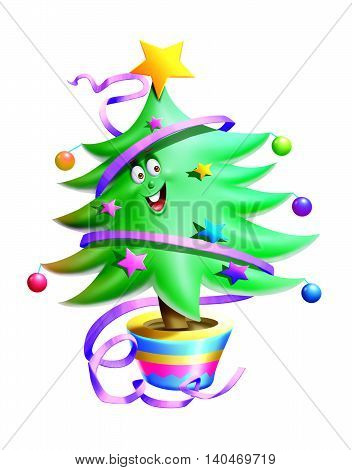 A Christmas tree isolated with white background