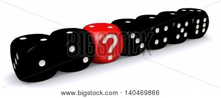 3D illustration of Red question mark dice standing out from black dices on white background