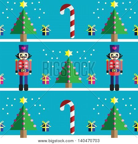 Christmas Seamless pattern with geometrical nutcracker soldier  with  gifts with ribbon, snow, sweets,  xmas trees with  pink lights and star element in 2 shades on light blue background
