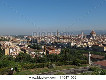 Florence cityscape panorama as seen from Piazziale Michelangelo