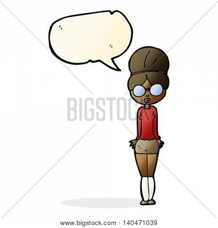 cartoon librarian woman with speech bubble