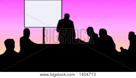 Classrom Silhouette With Blank Screen