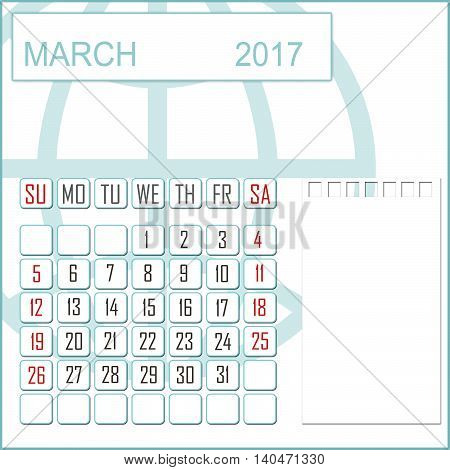 Abstract design 2017 calendar with note space for march month