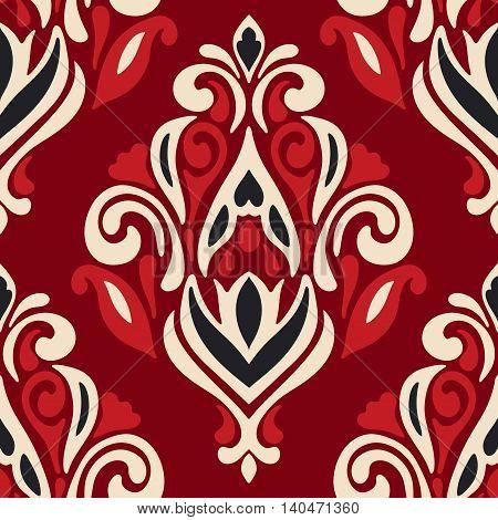 Luxury Damask victorian red flower seamless pattern background