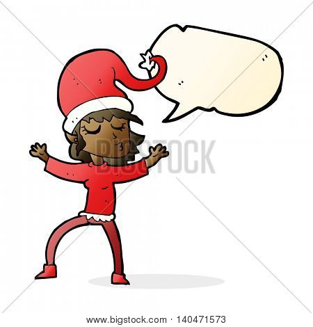 santa's helper cartoon with speech bubble