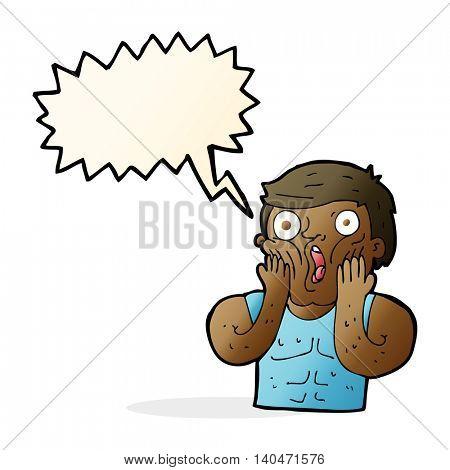 cartoon shocked gym man with speech bubble