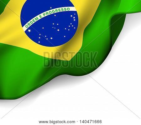 Waving flag of Brazil, South America. Vector illustration