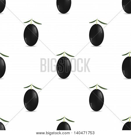 Black Olives Isolated on White Background. Seamless Pattern