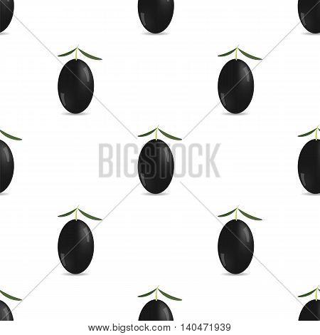 Black Olives Isolated on White Background. Seamless Pattern