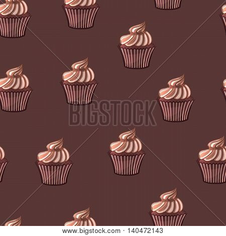 Chocolate cupcake on a brown background. Seamless cartoon pattern. Vector illustration.