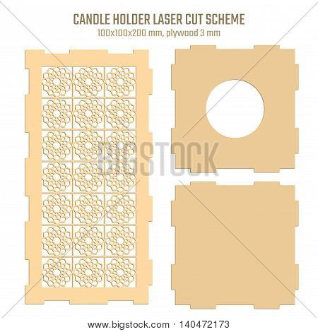 DIY Laser Cutting Vector Scheme for Candle Holder. Woodcut Lantern plywood 3mm.