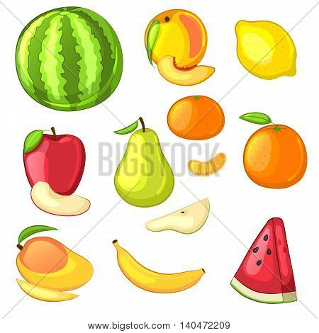 Fruit set of cartoon icons. Isolated objects on white background. Watermelon, pear, apple, orange, tangerine, banana, peach, mango and pieces. Vector illustration.