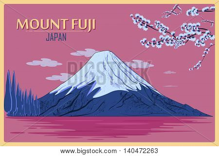 Vintage poster of Mount Fuji in Tokyo, Japan. Vector illustration