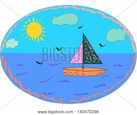 ship in the blue sea with seagulls and clouds
