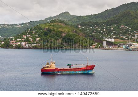 St. George's Grenada - December 3 2011: An abandoned general cargo ship
