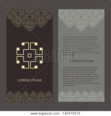 Set of two vector cards. Greek design vector template. Menu with greece meander.