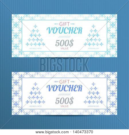 Christmas gift vouchers. Discount card for winter sales.