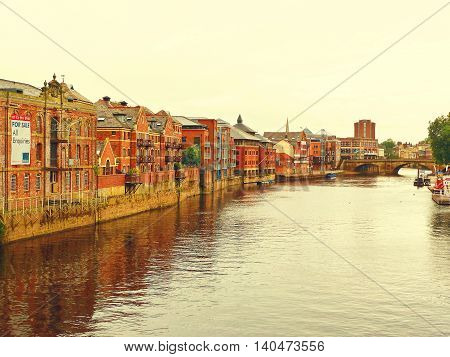YORK, UNITED KINGDOM - 18 JULY 2011: A view of the river Ouse in the city of York in the north of England.
