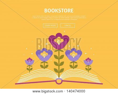 Vector background on the theme of online bookstore shopping and vector web illustration website