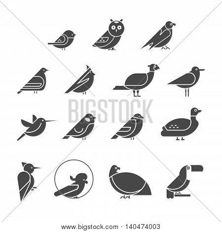 Vector bird icon set. Symbol silhouettes of birds. Flat design
