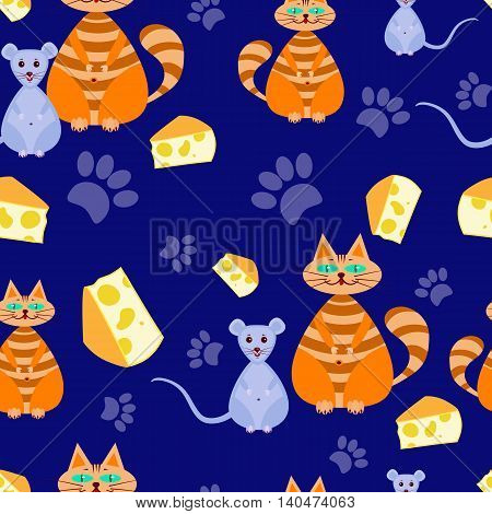 seamless pattern The cat dreams of mice, and she is about cheeseon a Blue background. Vector illustration for children. Can be used for fabric, textile, wrapping paper.