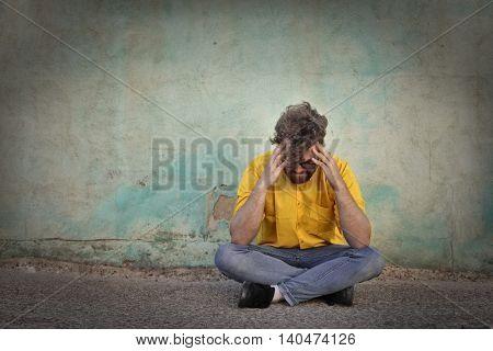 Desperate man thinking