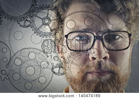 Serious man thinking