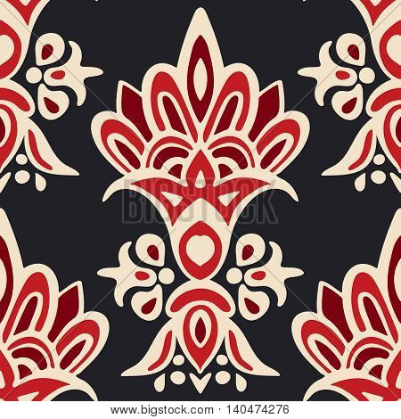 Luxury Damask seamless medallion floral vector pattern