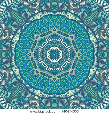 doodle graphic ethnic vector pattern ornamental. Geometric blue print. winter lace border
