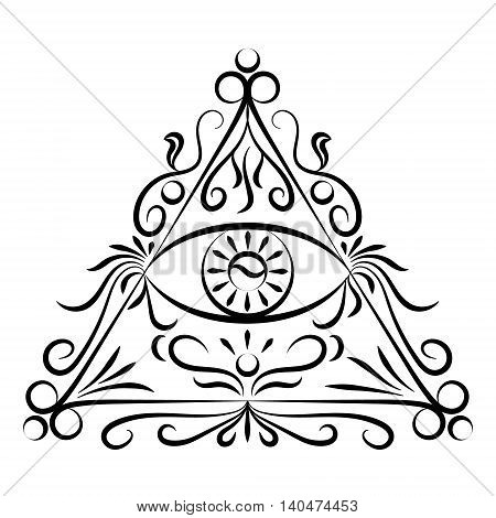 Doodle hand drawn eye in triangle on white background