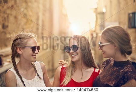 Blonde girls laughing