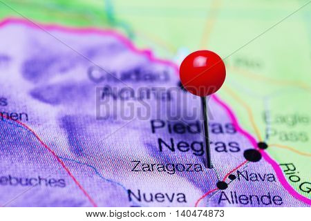 Zaragoza pinned on a map of Mexico