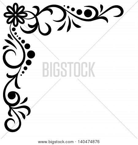 Doodle abstract black handdrawn corner flower frame