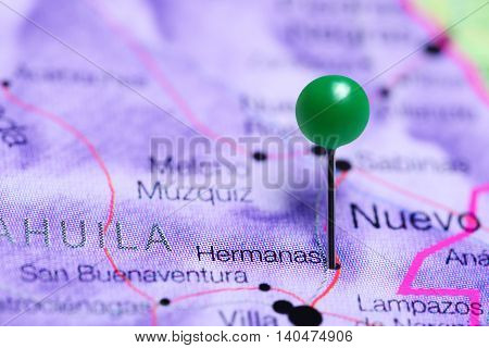 Hermanas pinned on a map of Mexico