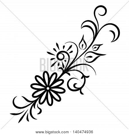 Doodle abstract black handdrawn flower ornament on the white background