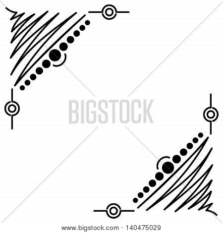 Doodle abstract black handdrawn corners frame on the white background