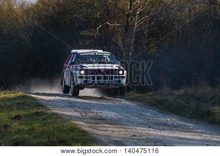 Lviv Ukraine - November 1 2015: Serhiy Chekan's Lancia Delta Integrale (No.14) competes at the annual Rally Galicia