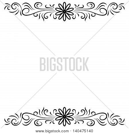 Doodle abstract black handdrawn flower top and bottom frame