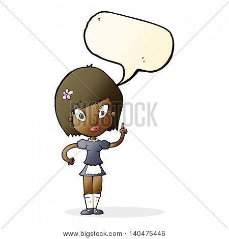 cartoon pretty maid with speech bubble