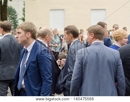 Leningrad region -Jul 30: Sergey Naryshkin Head of State Duma , july 30, 2016 . 89-th birthday of the Leningrad region. Slantsy city. Russia