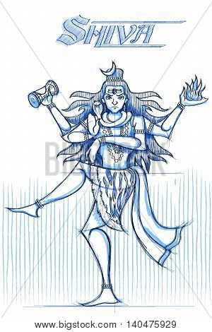 Indian God Shiva in sketchy look. Vector illustration